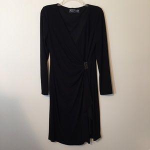 American Living Black Long Sleeve V-Neck Dress